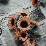 Orange Blumen, Sonnenblumen in einem Blumenstrauß auf einer Zeitung, Foto des Swagmädchens? #auf #Blumen #Blumenstrauß #des #einem