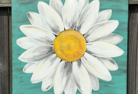 Original Daisy Painting on a Wood Panel Turquoise Blue