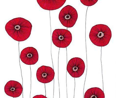 Original Drawing Poppy Flowers 2 8.5x12 up door EnchantedCrayons, $15.00