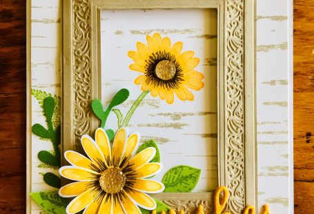 Daisy Lane Bundle +large Daisy Punch, Leaf Punch, Sprig Punch, Heirloom Frames, sponged, Birch background Stamp.