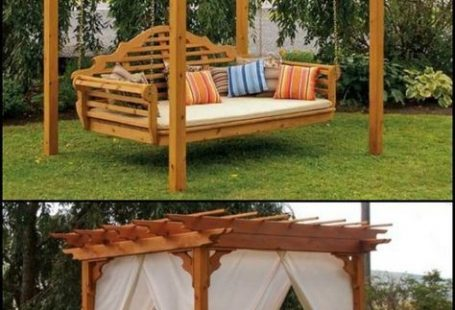 Enhance your outdoor space with this cedar swing bed and pergola!  theownerbuilderne...  Imagine swinging away in a comfortable breeze or reading in a shaded escape. You
