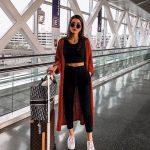Outfit om het vliegtuig te vangen, comfortabele broek en top, trend zomer 2019 ...  #broek #comfortabele #en #Het