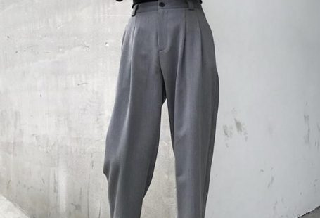 Pantalon de costume taille haute urbain à jambes droites
