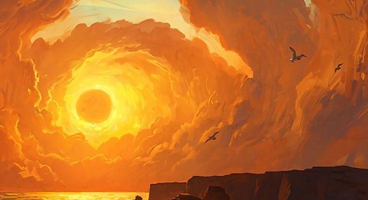 Paysage fantastique, Coucher de soleil, Nuages,