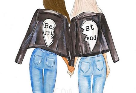 Best friends wall art, fashion illustration print, choose hair, skin colours, personalised with names, #giftforbestfriend #bestfrindgift #bestfriendart #bridalshowe