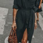 Shirt dress and beaded bag - casual chic outfit