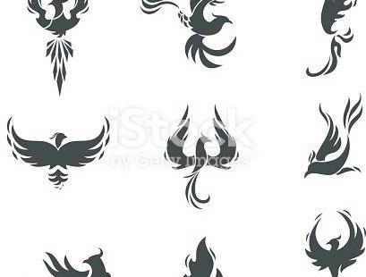 Phoenix bird stylized silhouettes icons on white background. template in the form of a burning flying phoenix. The concept of growth, strength and freedom.