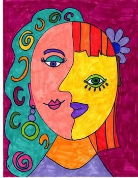 Picasso Inspired Art Activity, Cubism and Modern Art,Sub P