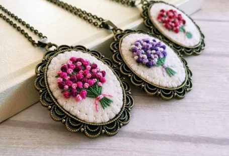 Pink Embroidered Bouquet Necklace Pink Floral Pendant Flower