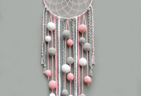 Pink nursery dream catcher Kids room decor wall hanging