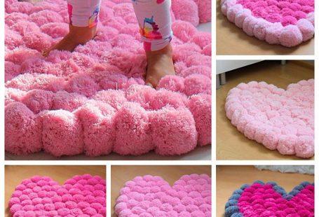 Pom Pom Rug Pink Pompom Rug Heart Rug Teen Room Decor