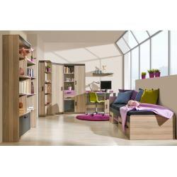 Jugendzimmer - Schrank Marcel 03, Farbe: Esche Rosa / Grau / Braun - Abmessungen: 187 x 80 x 39 cm (