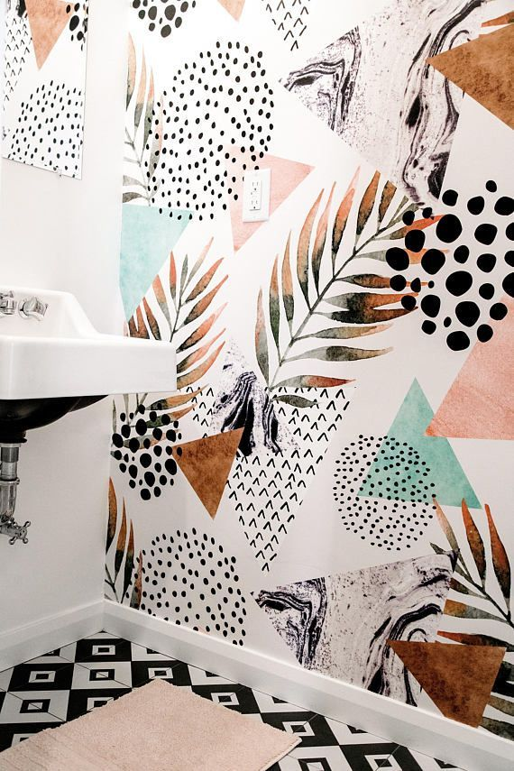 STUNNING abstract palm leaf wallpaper