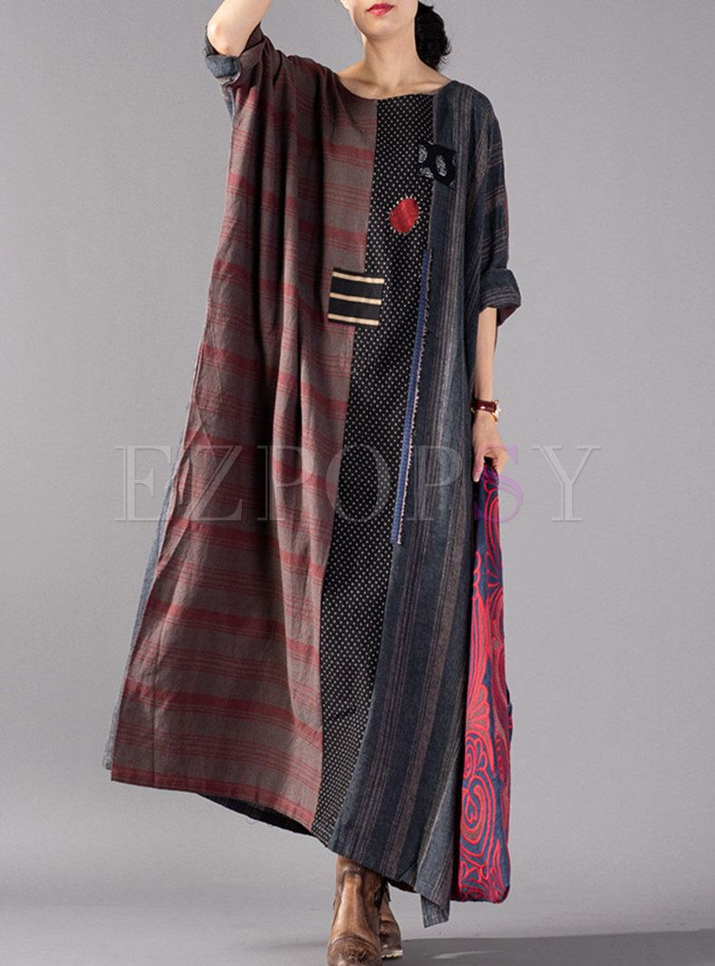 Retro Color-blocked Embroidered Plaid Maxi Dress With Split | Ezpopsy.com