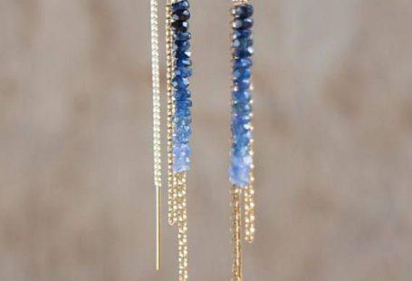 Ombre Sapphire Earrings, September Birthstone, Gold Sapphire Ear Threaders, Blue Sapphire Threader Earrings, Sapphire Jewellery, Wife Gift