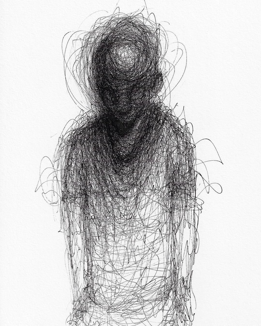 Scribbled Portraits of Brooding Figures by Adam Riches | Colossal