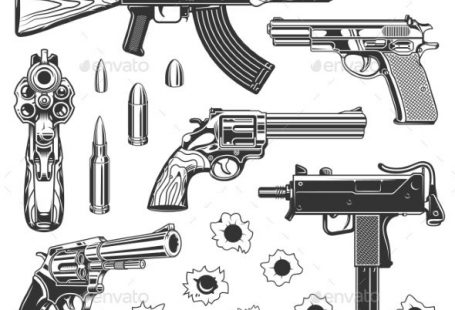 Set of Bullet Holes and Guns Set of bullet holes with gun. Isolated on white background. Vector illustration. #Bullet, #Set, #Guns, #Holes