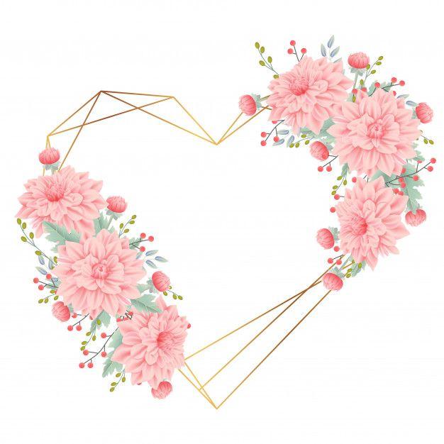 Sfondo cornice floreale con fiore dalia Vettore Premium