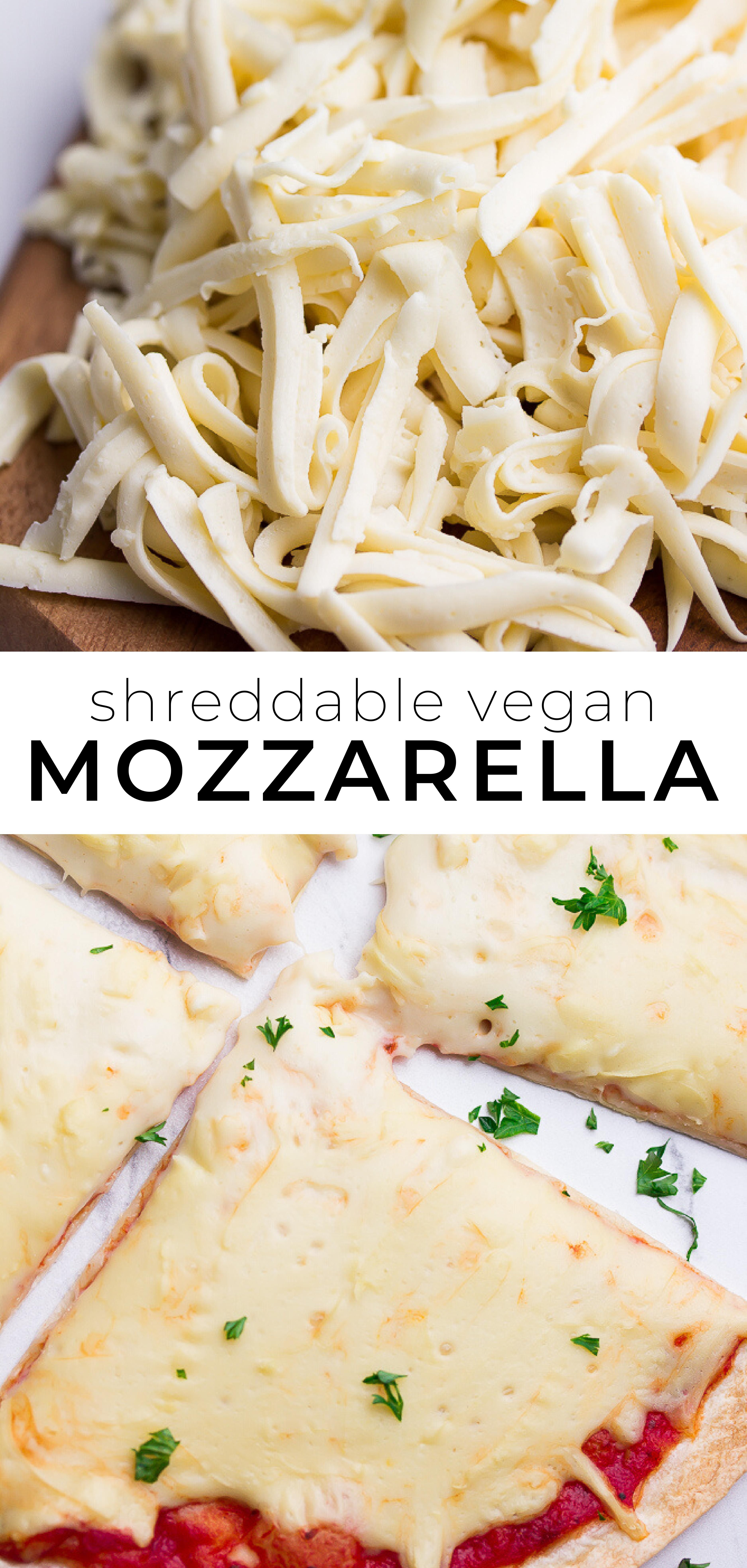 Vegan Mozzarella that can be shredded or sliced! It melts and stretches beautifully just like the real thing and only takes minutes to make!
