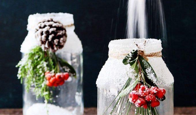 $1 snowy DIY mason jar centerpieces in 5 minutes: easy & beautiful winter wonderland crafts & decorations for weddings, holidays, Thanksgiving & Christmas!  - A Piece of Rainbow #masonjars #masonjarcrafts #recycle