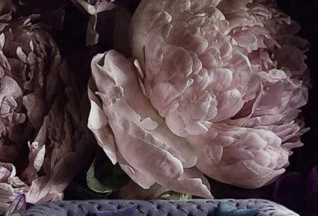 Sonderverkauf !! Dunkle Aquarell-Pfingstrosen-entfernbare Tapete Große Blumenwandleuchte Rosa Flieder ,  #aquarell #blumenwandleuchte #dunkle #entfernbare