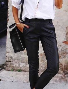 #Spring #Outfits White long-sleeved top and black pants.