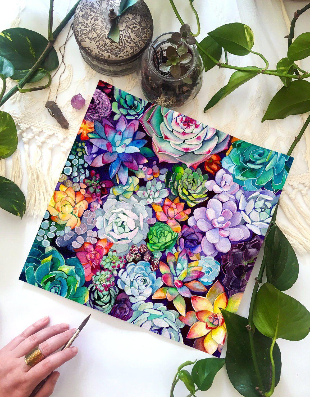 Succulent Garden Watercolor Painting Floral Bohemian