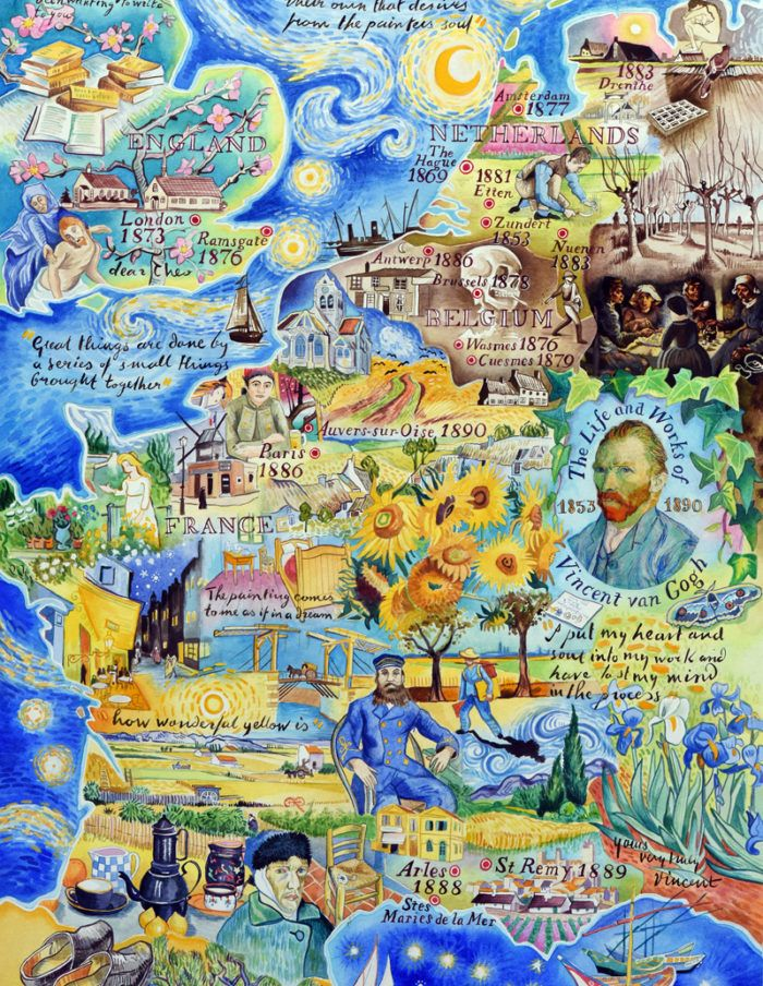 The life and works of Vincent van Gogh - a painted map