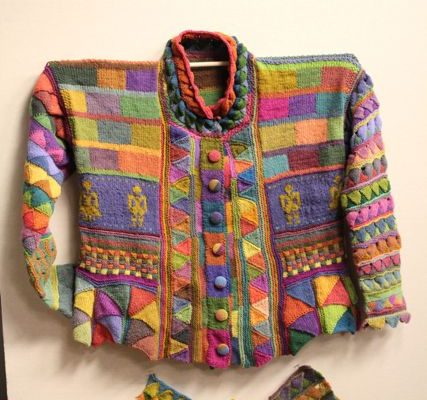 This colorful entrelac jacket was made by artist Kathryn Alexander.