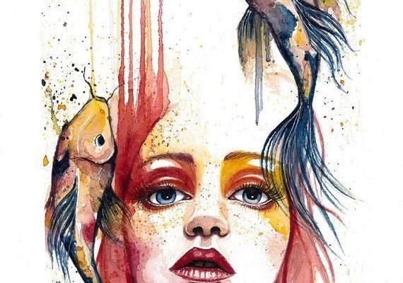 Transient Koi Fish Watercolor  Art Print Reproduction by Jen Duran