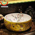 New Birds And Flower Countertop Lavobo Ceramic Bathroom Bowl Sink Wash Basin