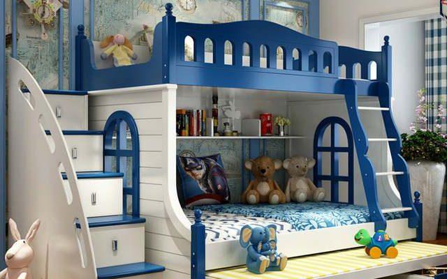Online Shop Louis Moda Çocuk Yatak Çok Fonksiyonlu Kombinasyonu Yetişkin Karyolası ranza Akdeniz Tarzı