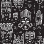 Vector seamless pattern with African ethnic tribal masks decorated with boho ornaments and ritual symbols. Can be printed and used as wrapping paper, wallpaper, textile, fabric, etc Stock Vector - 82627658