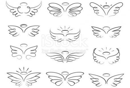 Vector sketch angel wings in cartoon style isolated on white background. Cartoon wings element line illustration