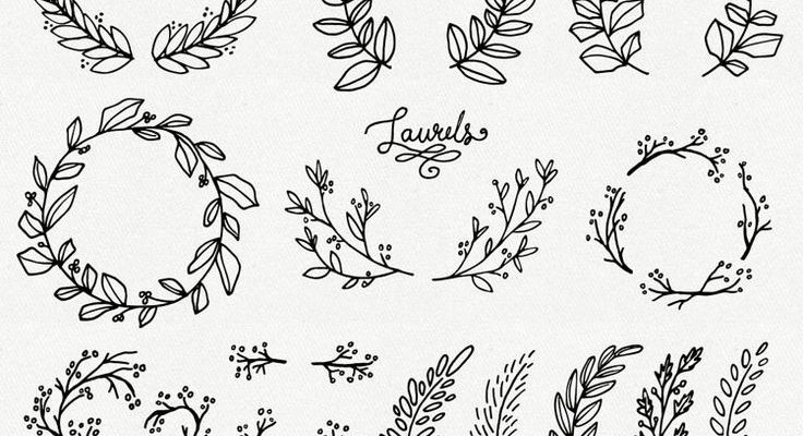 Whimsical Laurels & Wreaths Clip Art // Photoshop Brushes PNG Files // Hand Drawn Vector Flowers Blossoms Foliage Berries // Commercial Use        #art #Berries #Blossoms #Brushes