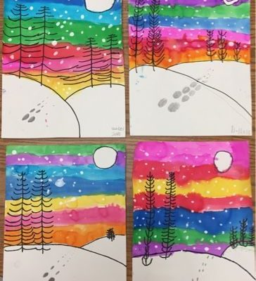 Winter landscapes by 1st grade - one day project