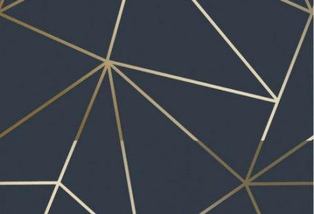 Zara Shimmer Metallic Wallpaper in Navy and Gold. For similar designs visit ilovewallpaper.co.uk #ilovewallpaper #wallpaper #navy #gold