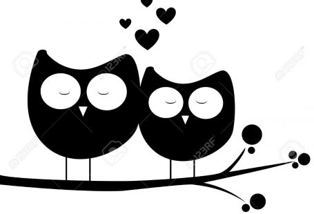 Abstract Owls In Love On White Background Royalty Free Cliparts ...