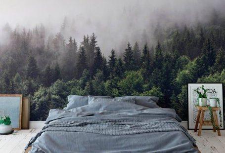 nebligen wald wandbild nebligen grauen berg tapete dunkelgrünen bäumen in berg wandbild schlafzimmer dekor anpassbare dimension Peel n Stick,  #anpassbare #Bäumen #Berg #Dekor