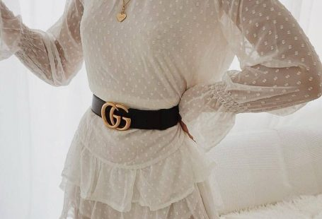 ruffled white on white, with gucci belt