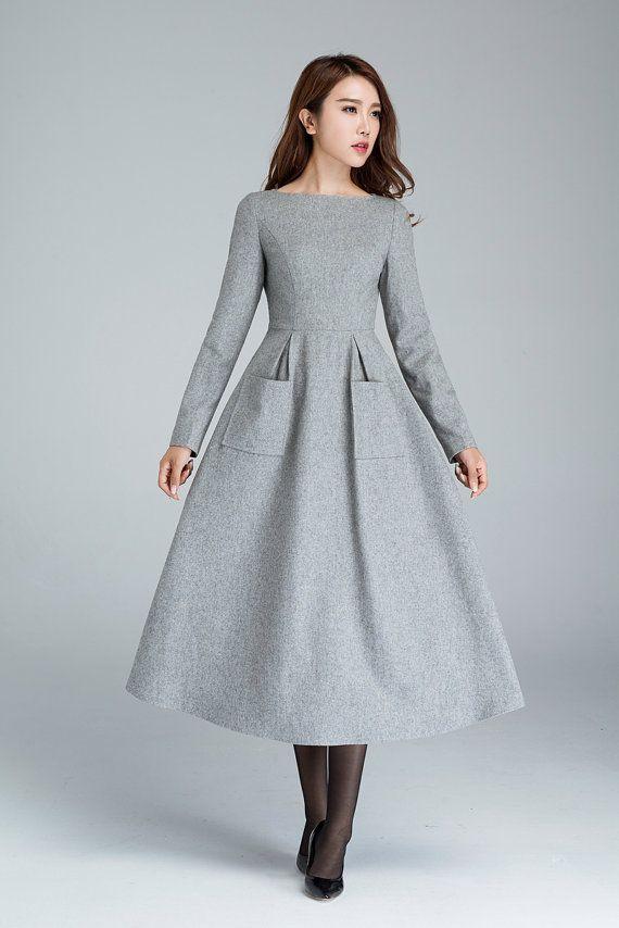 light grey wool dress with two big side pockets, winter dress, designers dress, handmade dress, long dress, womens dresses   1620