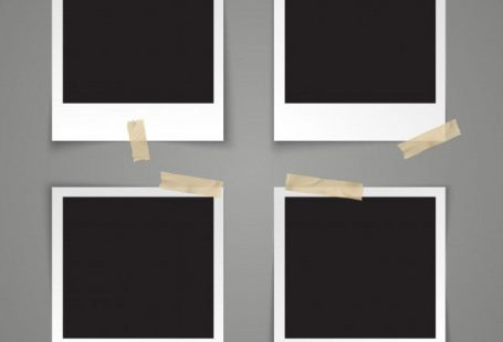 灰色の背景に粘着テープで現実的なベクトルテンプレート空のフォトフレーム Prem...