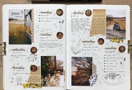 Carnet avec mémoires du mois de juin, album photo scrapbooking, simple et art style livre diy, photographies empruntés, dessins de petits fleurs et text