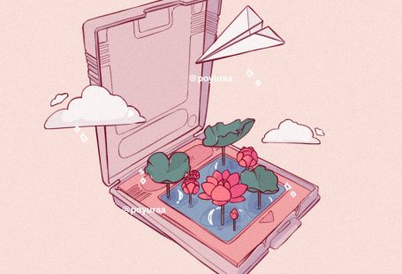 Aesthetic Cute Nintendo  Cartridges Water Lily Airplane Clouds Wallpaper Doodle Drawing by Poyura