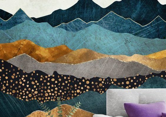 Stunning Amber Dusk wall mural by SpaceFrog Designs. This high quality Amber Dusk wallpaper is custom made to your dimensions.  This Wall Mural - Amber Dusk   This image is ©️️️️️  - SpaceFrog Designs  How to make a small room look bigger with a stunning wall mural. Click to find out more!   #wallmural #wallpaper