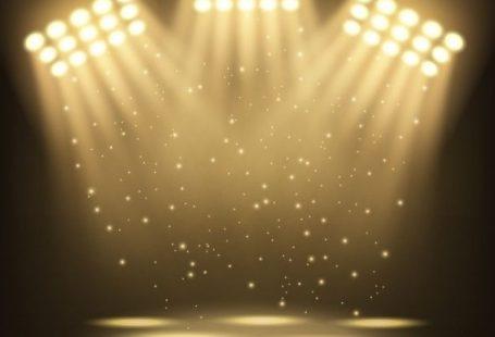 Bright stadium spotlights background Premium Vector