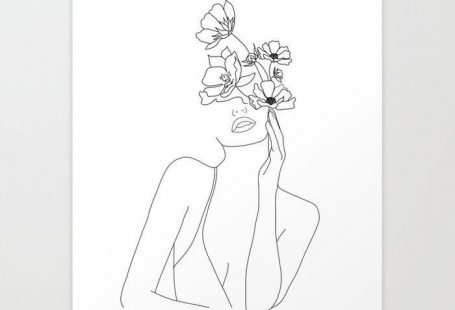 Buy Minimal Line Art Woman with Flowers Art Print ... - #Art #Buy #Flowers #line #minimal