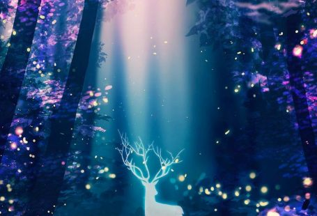 Deer fireflies art poster Surreal Poster Art Print Anime