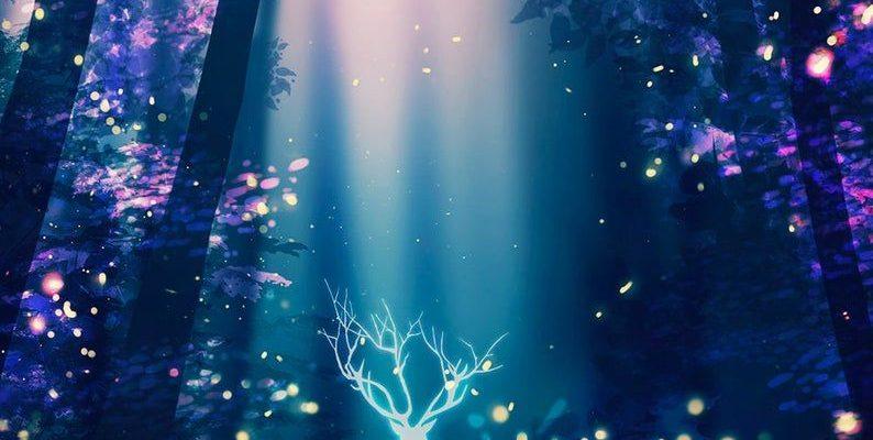 Deer fireflies art poster Surreal Poster Art Print Anime