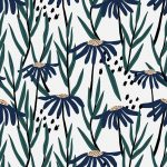 Blue daisy patterned white background vector